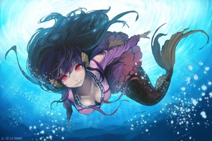 Rating: Safe Score: 204 Tags: breasts cleavage long_hair mayo_(rgw46) mermaid red_eyes underwater water User: Flandre93