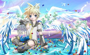 Rating: Safe Score: 23 Tags: all_male cage kagamine_len male petals vocaloid water wings User: Maboroshi