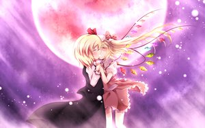 Rating: Safe Score: 80 Tags: 2girls blonde_hair blush bow dress flandre_scarlet hat kiss kuroyume_(dark495) moon night ponytail ribbons rumia short_hair shoujo_ai sky touhou vampire wings User: ガラス