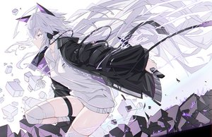 Rating: Safe Score: 61 Tags: animal_ears headphones long_hair original polychromatic verslll weapon white_hair User: BattlequeenYume