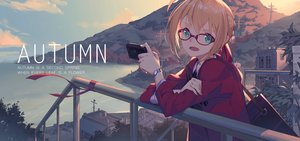 Rating: Safe Score: 62 Tags: autumn blonde_hair braids building camera clouds fate/grand_order fate_(series) glasses green_eyes landscape nian saber saber_extra scenic short_hair sky water wristwear User: BattlequeenYume