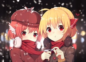 Rating: Safe Score: 68 Tags: 2girls blonde_hair blush candy chocolate close earmuffs mystia_lorelei red_eyes red_hair rumia scarf sh_(562835932) short_hair snow touhou wings winter User: RyuZU