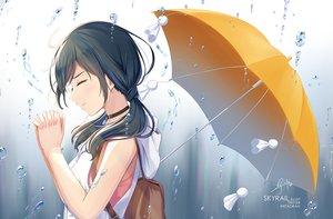 Rating: Safe Score: 33 Tags: amano_hina black_hair choker hoodie long_hair rain signed skyrail tenki_no_ko twintails umbrella water watermark User: RyuZU