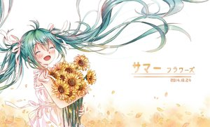 Rating: Safe Score: 57 Tags: blush buji_(1194576654) flowers hatsune_miku sunflower twintails vocaloid User: FormX