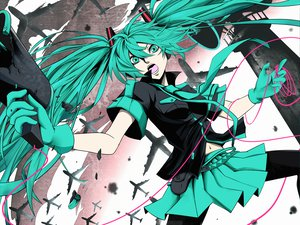 Rating: Safe Score: 61 Tags: aircraft aqua_eyes aqua_hair gloves hatsune_miku kazabana_kazabana koi_wa_sensou_(vocaloid) long_hair skirt stockings tie twintails vocaloid User: Umbra