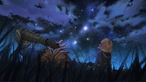 Rating: Safe Score: 33 Tags: alzi blonde_hair braids clouds grass link_(zelda) male night pointed_ears princess_zelda short_hair sky stars the_legend_of_zelda User: sadodere-chan