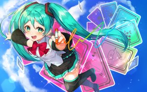 Rating: Safe Score: 35 Tags: boots bow clouds green_eyes green_hair hatsune_miku loli long_hair nonomaro skirt sky thighhighs twintails vocaloid zettai_ryouiki User: Fepple
