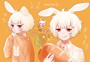 Rating: Safe Score: 19 Tags: aliasing all_male animal_ears bunny_ears chibi male orange original red_eyes shirt short_hair signed tears tsubaki_tsubaru white_hair User: otaku_emmy