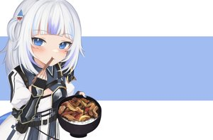 Rating: Safe Score: 32 Tags: armor blue_eyes blush cosplay dress elbow_gloves flat_chest food gawr_gura gloves hololive klaius short_hair third-party_edit white_hair User: otaku_emmy