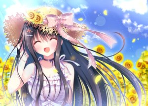 Rating: Safe Score: 59 Tags: black_hair choker clouds flowers hat long_hair mizuse_sakua original sky sunflower User: sadodere-chan
