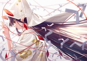 Rating: Safe Score: 60 Tags: animal_ears japanese_clothes kimono long_hair original paper pointed_ears purple_hair red_eyes takubon_(xewh4773) wedding_attire User: Dreista