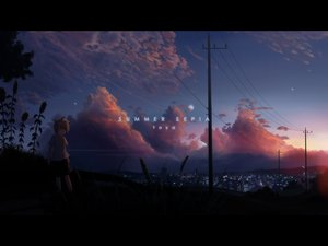 Rating: Safe Score: 70 Tags: city clouds dark flowers grass hirobakar kagamine_len male moon scenic sky stars summer sunset vocaloid User: STORM