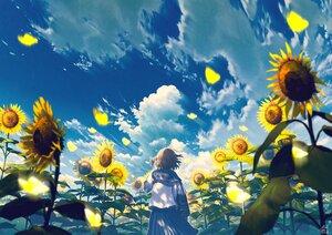 Rating: Safe Score: 48 Tags: brown_hair clouds flowers mocha_(cotton) original petals school_uniform short_hair signed skirt sky summer sunflower User: otaku_emmy