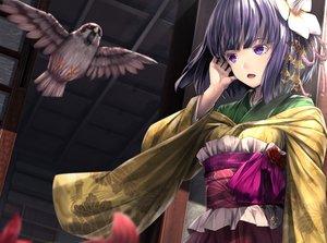 Rating: Safe Score: 66 Tags: animal bird cropped headdress hieda_no_akyuu japanese_clothes kimono purple_eyes purple_hair ryosios short_hair touhou User: luckyluna