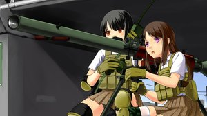 Rating: Safe Score: 26 Tags: 2girls bike_shorts black_hair blush brown_eyes gloves gun military mizuki_ame original short_hair shorts skirt thighhighs weapon zettai_ryouiki User: RyuZU
