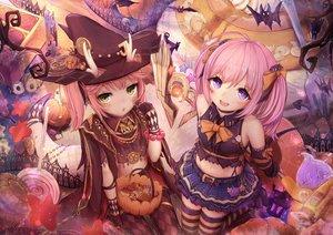 Rating: Safe Score: 45 Tags: anthropomorphism azur_lane eicam halloween pink_hair purple_eyes ryuujou_(azur_lane) saratoga_(azur_lane) short_hair twintails User: Fepple
