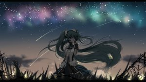Rating: Safe Score: 86 Tags: 7th_dragon_2020 aqua_eyes aqua_hair dress hatsune_miku long_hair night ribbons sky stars tagme_(artist) twintails vocaloid User: luckyluna