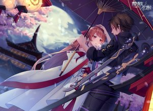 Rating: Safe Score: 31 Tags: blush brown_hair building chariot.f clouds japanese_clothes long_hair male moon short_hair sky sword tree umbrella weapon User: BattlequeenYume
