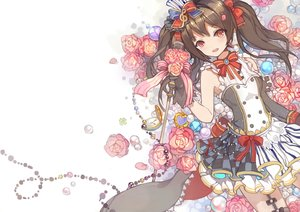 Rating: Safe Score: 102 Tags: black_hair blush flowers gloves long_hair love_live!_school_idol_project microphone petals red_eyes skirt thighhighs twintails xiaohan6th yazawa_nico User: Flandre93