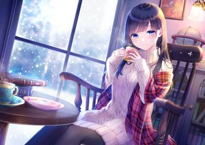 Rating: Safe Score: 74 Tags: blue_eyes blush book brown_hair drink kashiwabara_en long_hair original pantyhose snow User: BattlequeenYume