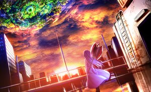 Rating: Safe Score: 75 Tags: building city dress haru-chan_(ryosios) long_hair magic original purple_hair ryosios scenic sky sunset weapon User: FormX