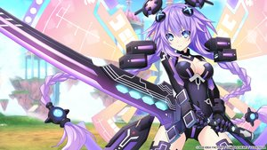 Rating: Safe Score: 35 Tags: aqua_eyes bodysuit breasts gloves hyperdimension_neptunia long_hair purple_hair purple_heart sword tagme_(artist) weapon wings User: Nepcoheart