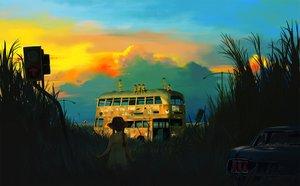 Rating: Safe Score: 116 Tags: clouds grass hat kuchibiru_(lipblue) original sky sunset User: HawthorneKitty