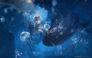 Rating: Safe Score: 80 Tags: animal brown_hair bubbles long_hair original qqwew00123 school_uniform skirt underwater water watermark User: BattlequeenYume