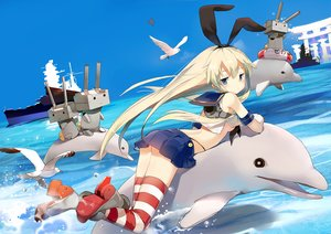 Rating: Safe Score: 113 Tags: animal anthropomorphism bird blonde_hair blue_eyes boat boots breasts dolphin fish headband kantai_collection long_hair rensouhou-chan sheska_xue shimakaze_(kancolle) skirt sky thighhighs torii water User: FormX
