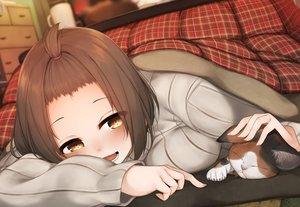 Rating: Safe Score: 49 Tags: animal blush brown_eyes brown_hair cat kotatsu original rerrere short_hair User: RyuZU