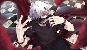 Rating: Safe Score: 88 Tags: all_male animal byakuya_reki kaneki_ken male mask red_eyes shackles short_hair tokyo_ghoul white_hair wristwear User: Flandre93