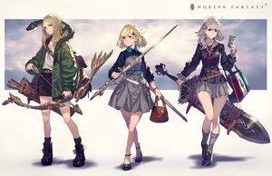 Rating: Safe Score: 49 Tags: animal bow_(weapon) garter kusano_shinta original skirt sword uniform weapon User: BattlequeenYume