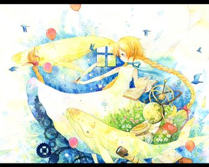 Rating: Safe Score: 27 Tags: animal bird blonde_hair blue_eyes book braids dress long_hair original sakumamei User: PAIIS
