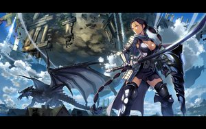 Rating: Safe Score: 287 Tags: armor beek black_hair braids breasts building cape cleavage clouds dragon gloves horns long_hair mabinogi mabinogi_heroes ponytail red_eyes scarf sky sword tail tree water waterfall weapon wings User: opai