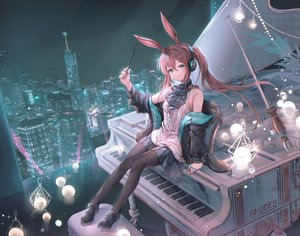 Rating: Safe Score: 61 Tags: amiya_(arknights) animal_ears arknights brown_hair building bunny_ears city green_eyes headphones instrument long_hair night open_shirt ozzingo pantyhose piano ponytail skirt sky stars wand User: BattlequeenYume