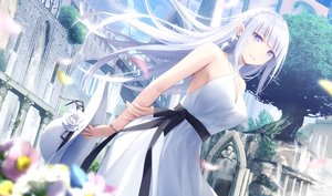Rating: Safe Score: 128 Tags: braids building clouds dress emilia_(re:zero) flowers gray_hair haribote_(tarao) hat long_hair pointed_ears re:zero_kara_hajimeru_isekai_seikatsu sky summer_dress tree User: BattlequeenYume
