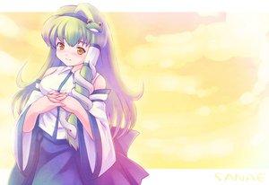 Rating: Safe Score: 4 Tags: dress green_hair japanese_clothes kochiya_sanae long_hair miko tdk touhou yellow_eyes User: 秀悟