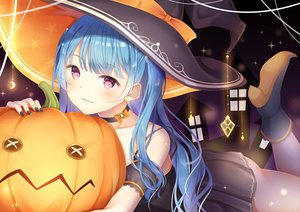 Rating: Safe Score: 70 Tags: choker dress halloween hat koki_(latte1023) long_hair original pumpkin purple_eyes witch_hat User: BattlequeenYume