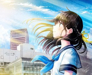 Rating: Safe Score: 52 Tags: black_hair blush braids brown_eyes building city close clouds cropped kazuharu_kina long_hair original ribbons school_uniform signed sky User: otaku_emmy