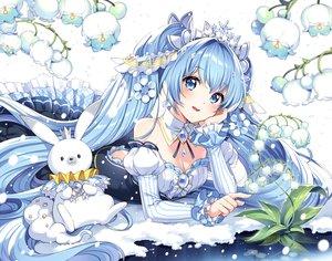 Rating: Safe Score: 71 Tags: animal aqua_eyes aqua_hair breasts cleavage dress flowers hatsune_miku long_hair nardack rabbit snow tiara twintails vocaloid yuki_miku yukine_(vocaloid) User: RyuZU