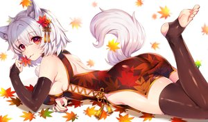 Rating: Safe Score: 186 Tags: animal_ears ass autumn barefoot breasts chinese_clothes chinese_dress elbow_gloves fang gloves inubashiri_momiji leaves marota no_bra nopan red_eyes short_hair tail thighhighs touhou white white_hair wolfgirl User: RyuZU