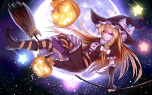 Rating: Safe Score: 84 Tags: baka_no_e blonde_hair blue_eyes bow braids dress elbow_gloves halloween hat kirisame_marisa moon pumpkin thighhighs touhou wink witch witch_hat User: e4_ePLoe