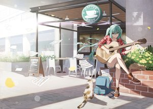 Rating: Safe Score: 64 Tags: animal aqua_eyes aqua_hair cat guitar hatsune_miku instrument long_hair music paper twintails vocaloid zhenyuann User: FormX