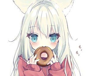 Rating: Safe Score: 37 Tags: animal_ears blush catgirl close cropped food green_eyes hamaru_(s5625t) hoodie long_hair original white white_hair User: otaku_emmy