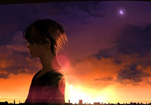 Rating: Safe Score: 47 Tags: all_male brown_hair city clouds kyouichi male original sky stars sunset User: STORM