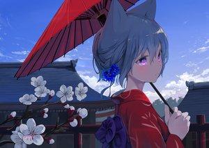 Rating: Safe Score: 114 Tags: blue_hair braids building close clouds flowers japanese_clothes kimono mikisai original purple_eyes short_hair sky umbrella User: Fepple