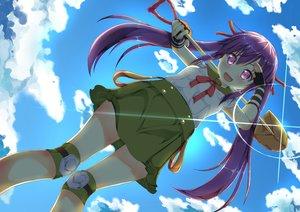 Rating: Safe Score: 98 Tags: blush bow clouds ebisuzawa_kurumi gakkou_gurashi! long_hair purple_eyes purple_hair ribbons school_uniform skirt sky tagme_(artist) twintails weapon wristwear User: kokiriloz
