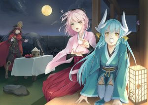 Rating: Safe Score: 58 Tags: aliasing fate/grand_order fate_(series) food kiyohime_(fate/grand_order) moon nakaga_eri night nobunaga_oda_(fate) okita_souji_(fate) User: RyuZU