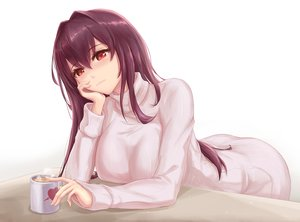 Rating: Safe Score: 58 Tags: fate/grand_order fate_(series) long_hair purple_hair red_eyes scathach_(fate/grand_order) skyde_kei white User: Nepcoheart