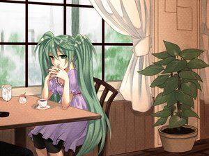Rating: Safe Score: 40 Tags: drink hatsune_miku vocaloid yayoi_(egoistic_realism) User: MissBMoon